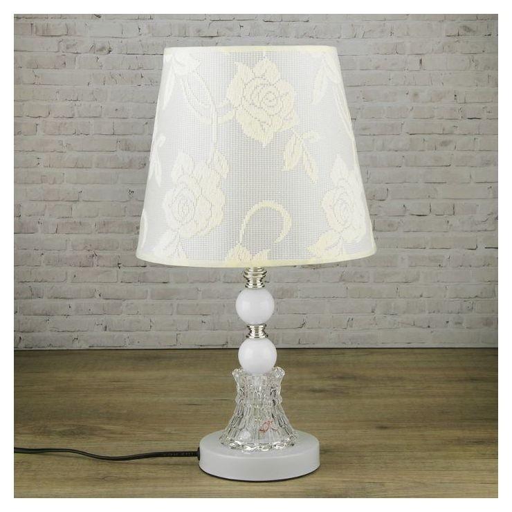 """Лампа настольная """"Розы"""" Е27 220в низ с подсветкой, диоды 39,5х23х23 см  КНР"""
