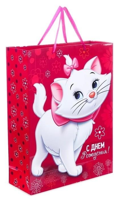 """Пакет ламинированный вертикальный """"С днем рождения, чудесная девочка!"""", коты аристократы, 31 х 40 х 11 см  Disney"""