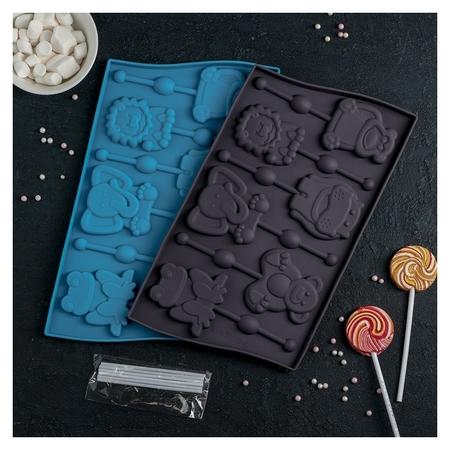 Форма для леденцов и мороженого «Звери», 6 ячеек, с палочками, цвет шоколадный  Доляна