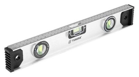 Уровень алюминиевый Tundra Рельс, 3 глазка (1 поворотный), 400 мм Tundra
