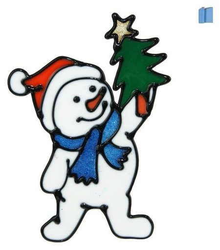 """Наклейка на стекло """"Снеговик в синем шарфе с ёлкой"""" 10х15 см  Зимнее волшебство"""