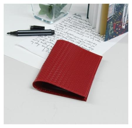 Обложка для паспорта, тиснение, плетёнка, цвет красный  Cayman