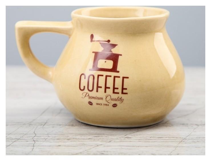 """Чашка прованс """"Кофе"""", бежевая, глазурь, боровая деколь, 350 мл  Керамика ручной работы"""