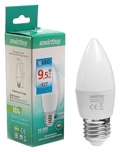 Лампа светодиодная Smartbuy, C37, е27, 9.5 Вт, 6000 К, холодный белый свет  Smartbuy