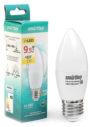 Лампа светодиодная Smartbuy, C37, е27, 9.5 Вт, 3000 К, теплый белый свет  Smartbuy