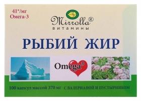 Рыбий жир пищевой Mirrolla с масляным экстрактом валерианы и пустырника, 100 капсул по 0,37 Mirrolla