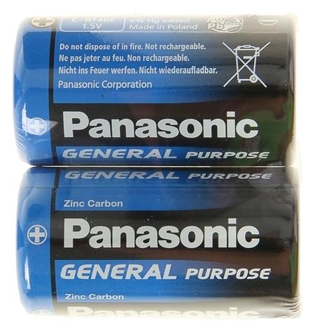 Батарейка солевая Panasonic General Purpose, C, R14-2s, 1.5в, спайка, 2 шт.  Panasonic