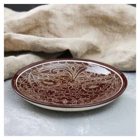Тарелка плоская 15,5см коричневый  Риштанская керамика