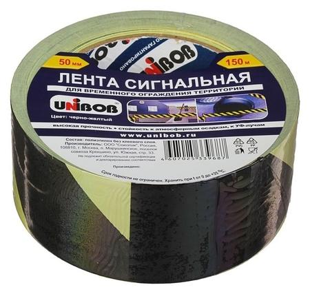 Лента сигнальная Unibob 50мм х 150м желто-черная  Unibob