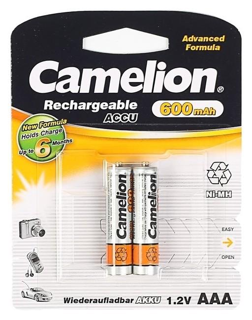 Аккумулятор Camelion, Aaa, Ni-mh, Hr03-2bl (Nh-aaa600bp2), 1.2в, 600 мач, блистер, 2 шт.  Camelion