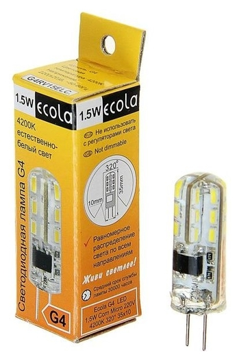 Лампа светодиодная Ecola Corn Micro, 1.5 Вт, G4, 4200 K, 320°, 35х10 мм  Ecola