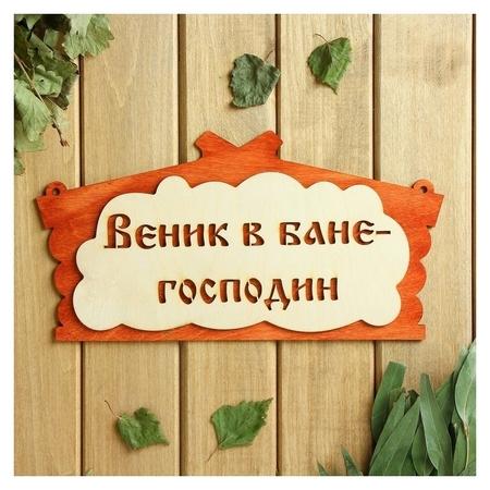 "Табличка для бани ""Веник в бане господин"" в виде избы 30х17см  Добропаровъ"