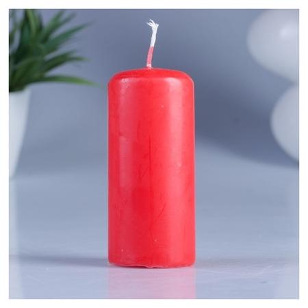 Свеча классическая 4х9 см красная  Омский свечной завод