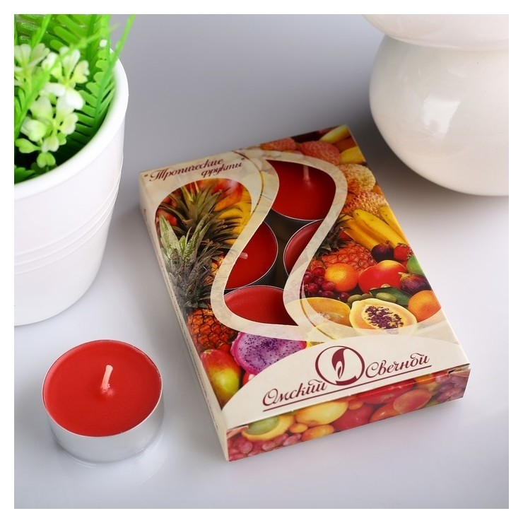 Набор чайных свечей ароматизированных Тропические фрукты  Омский свечной завод