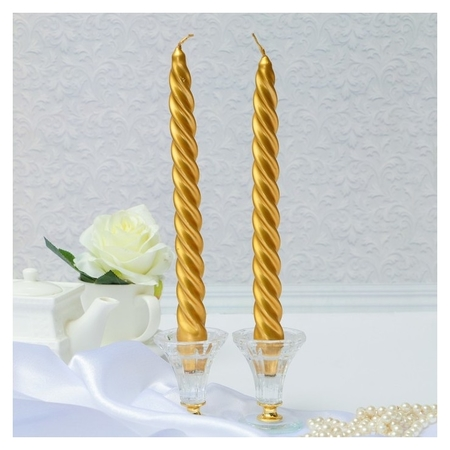 Набор свечей витых 2,3х 24,5 см Золотой  Омский свечной завод