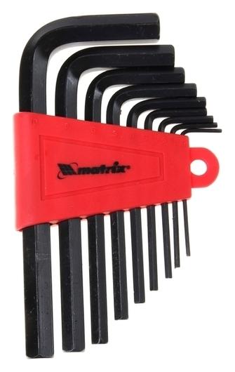 Ключи имбусовые HEX 1,5–10 мм Matrix, Crv, оксидированные, короткие, 9 шт.  Matrix