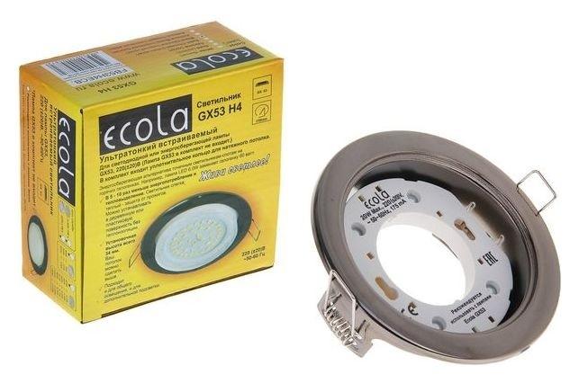 Светильник встраиваемый Ecola, Gx53, потолочный, 38x106 мм, цвет чёрный хром Ecola