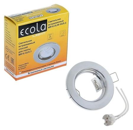 Светильник встраиваемый Ecola, Dl90, Mr16, Gu5.3, 30 X 80 мм, плоский, цвет хром  Ecola