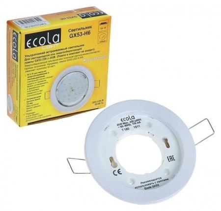 Светильник встраиваемый Ecola, 20 Вт, Gx53, H6, 101x16 мм, плоский, белый  Ecola