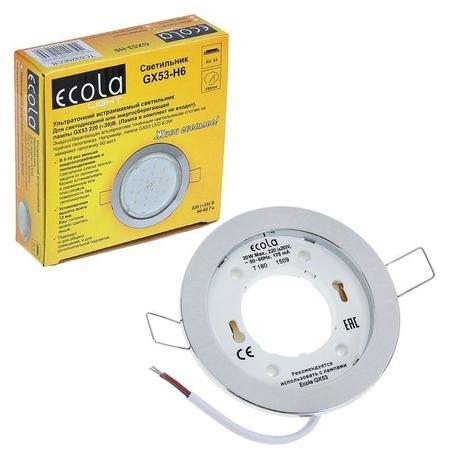Светильник встраиваемый Ecola, Gx53, H6, 20 Вт, плоский, цвет хром, 101x16 мм  Ecola