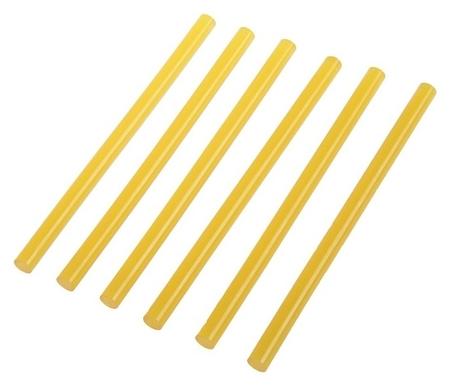 Клеевые стержни Tundra, 11 х 200 мм, желтые (По бумаге и дереву), 6 шт.  Tundra