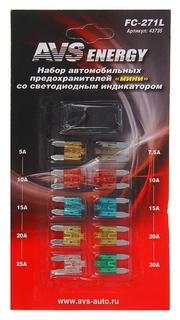 """Предохранители AVS Fc-271l, """"Мини"""", 5-30 А, со светодиодом, набор 10 шт.  AVS"""