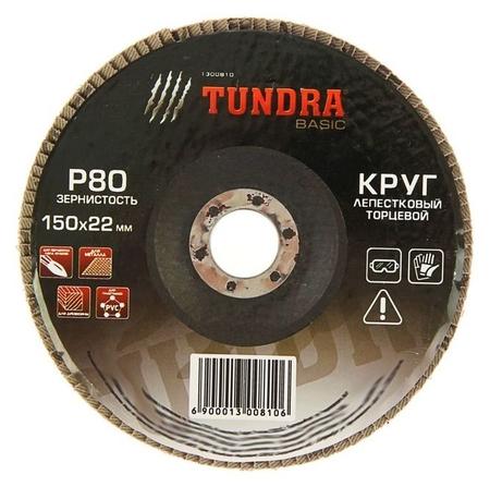 Круг лепестковый торцевой Tundra, 150 х 22 мм, Р80  Tundra