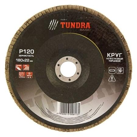 Круг лепестковый торцевой Tundra, 180 х 22 мм, р120  Tundra