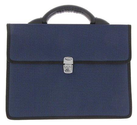 """Портфель деловой ткань 350 х 260 х 100 мм,""""Выборг"""", синий  Канцбург"""