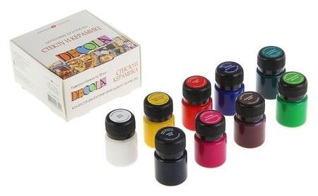 Набор красок по стеклу и керамике Decola, 9 цветов, 20 мл  Невская палитра