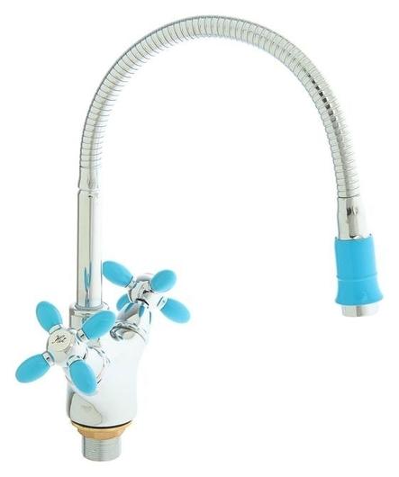 Смеситель для кухни Accoona A4882m, двухрычажный, с гибким изливом, синий/хром  Accoona