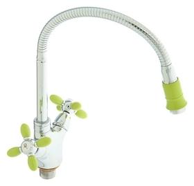 Смеситель для кухни Accoona A4882k, двухрычажный, с гибким изливом, зеленый/хром  Accoona