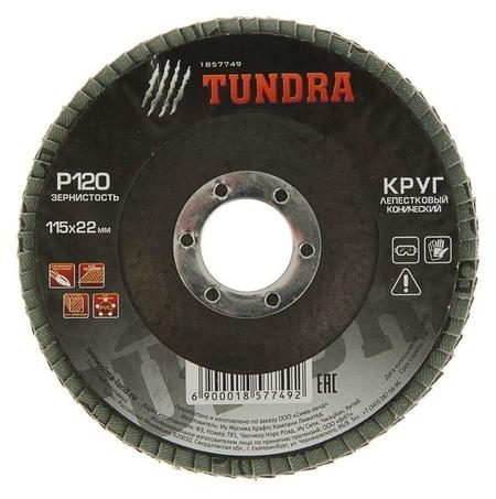 Круг лепестковый торцевой конический Tundra, 115 х 22 мм, р120  Tundra