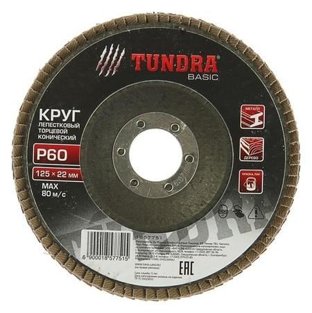 Круг лепестковый торцевой конический Tundra, 125 х 22 мм, Р60  Tundra