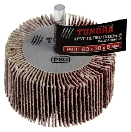 Круг лепестковый радиальный Tundra, 60 х 30 х 6 мм, Р80 Tundra