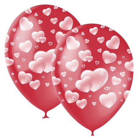 """Шар латексный 12"""" «Сердца», декоратор, 5-сторонний, набор 25 шт., цвет красный  Latex Occidental"""