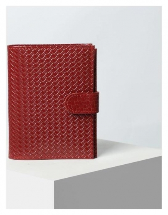 Обложка для автодокументов и паспорта, с хлястиком, отдел для купюр, плетёнка, цвет красный  Cayman