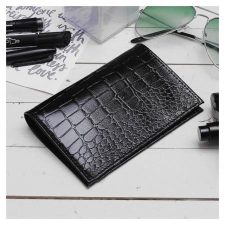 Обложка для паспорта, 5 карманов для карт, крокодил, цвет чёрный  Cayman