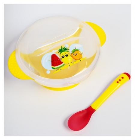 Набор для кормления «За маму и папу», 3 предмета: миска 350 мл на присоске, крышка, ложка, цвет жёлтый  Mum&baby