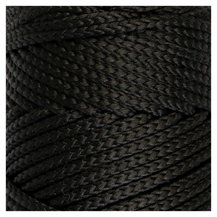 Шнур для вязания без сердечника 100% полиэфир, ширина 3мм 100м/210гр, (170 черный)  Osttex