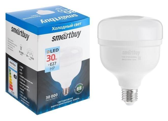 Лампа Cветодиодная Smartbuy, НР, E27, 30 Вт, 6500 К, холодный белый свет  Smartbuy