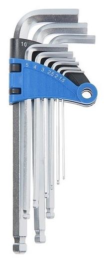Набор ключей шестигранных Tundra, удлиненных с шаром, Crv, 1.5 - 10 мм, 9 шт.  Tundra