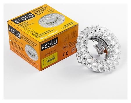 Светильник встраиваемый Ecola Light, Cd4141, Mr16, Gu5.3, круглый, 50x90 мм, прозрачный/хром  Ecola