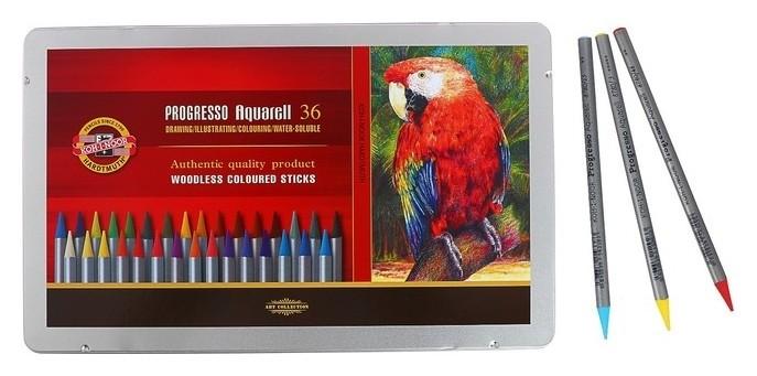 Карандаши акварельные цельнографитовые 36 цветов, Koh-i-noor Progresso Aquarell, металлический пенал  Koh-i-noor