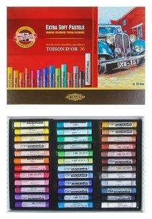 Пастель сухая 36 цветов 12 мм, Extra Soft Koh-i-noor 8552 Toison D`or, картонная упаковка, L=75 мм  Koh-i-noor