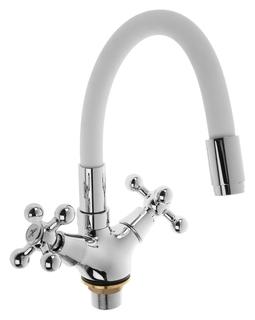 Cмеситель для кухни Accoona A9871g, двухвентильный, силиконовый излив, силумин, белый/хром  Accoona