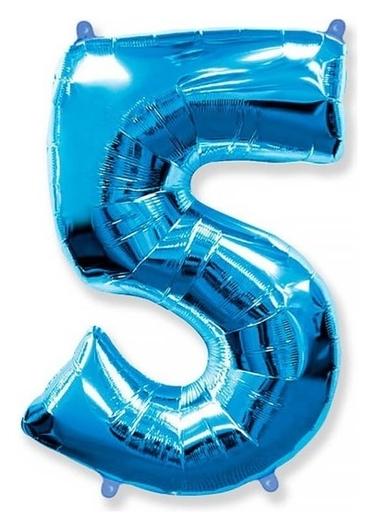 """Шар фольгированный 40"""" «Цифра 5», цвет голубой  Flexmetal"""
