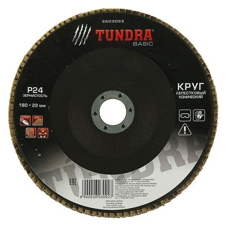 Круг лепестковый торцевой конический Tundra, 180 х 22 мм, Р24  Tundra