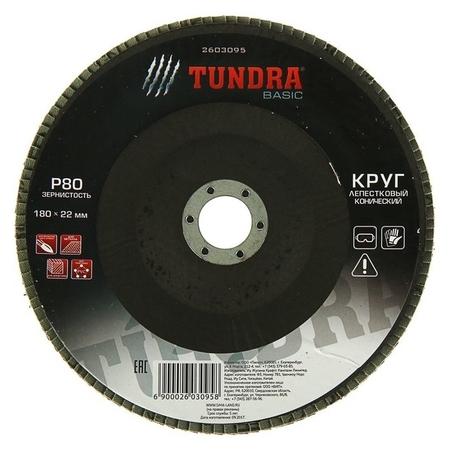 Круг лепестковый торцевой конический Tundra, 180 х 22 мм, Р80  Tundra