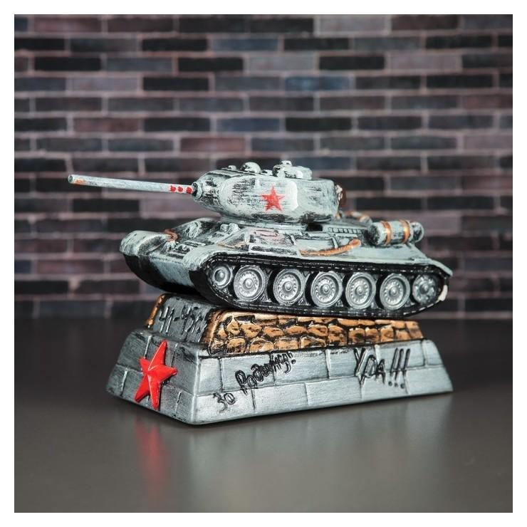 """Копилка """"Танк т-34"""", серая, 15 см  Керамика ручной работы"""